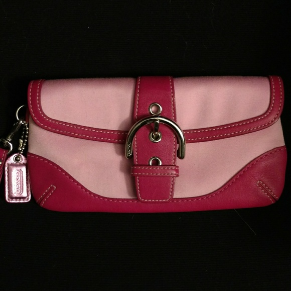 Coach wristlet pink leather and fabric